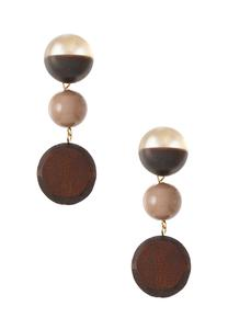 Mixed Wood Bead Clip-On Earrings