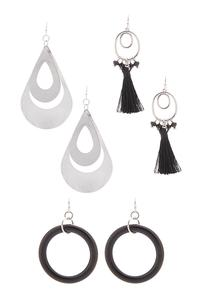 Black Dangle Earrings Set