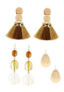 Mixed Amber Earring Set