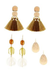Mixed Amber Earring Set