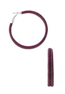 Purple Thread Hoop Earrings