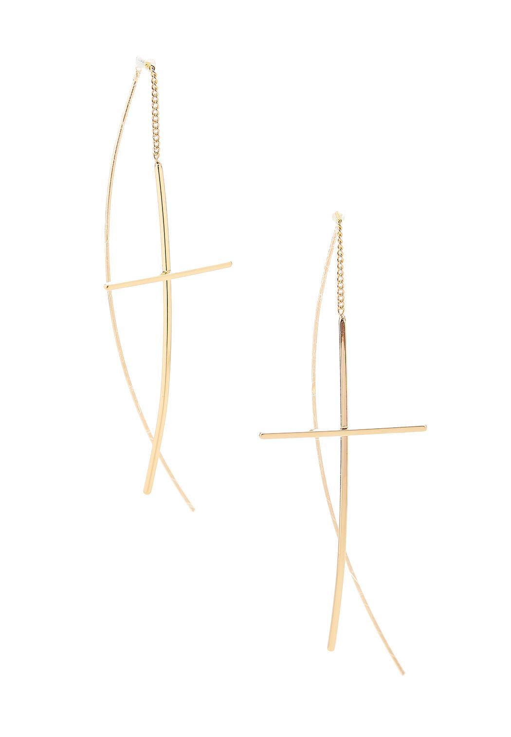Linear Cross Earrings