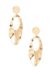 Crinkled Gold Metal Earrings