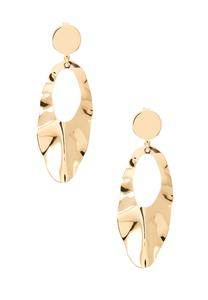Crinkled Gold Metal Earrings