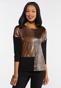 Metallic Leopard Colorblock Top
