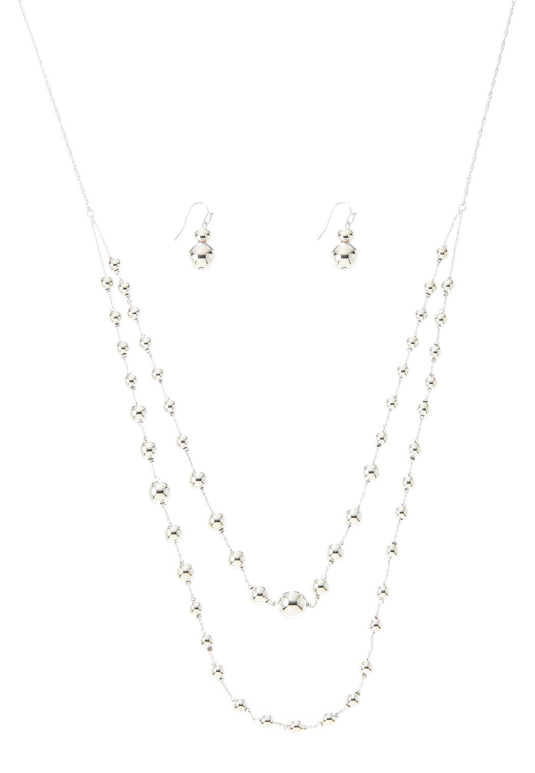Layered Bead Necklace Earring Set