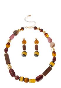 Mixed Bead Necklace Earring Set
