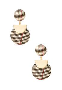 Houndstooth Gold Dangle Earrings