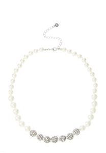 Pearl Rhinestone Ball Necklace