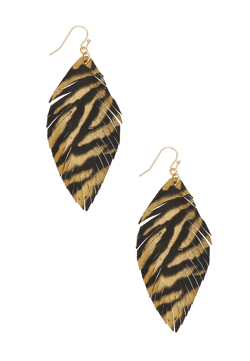 Faux Leather Tiger Print Earrings