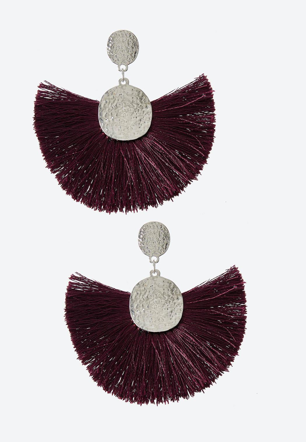 Hammered Disc Tassel Earrings
