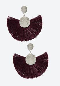 Hammered Disc Tassel Earrings