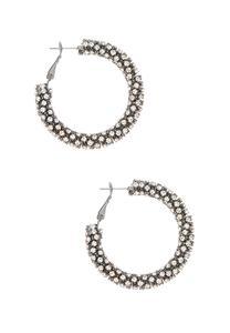 Pave Rhinestone Hoop Earrings