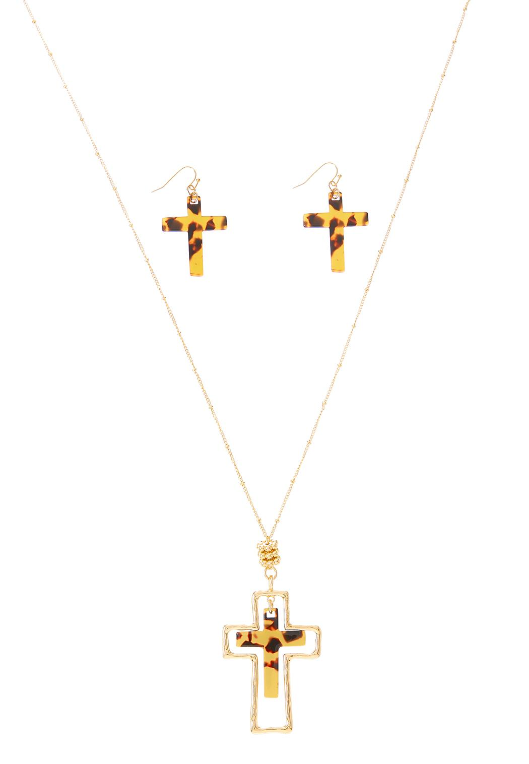 Lucite Cross Necklace Earring Set