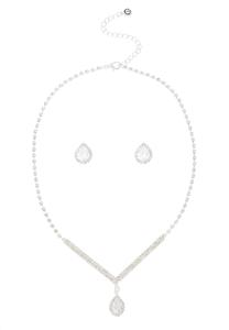 Pave Tear Necklace Earring Set
