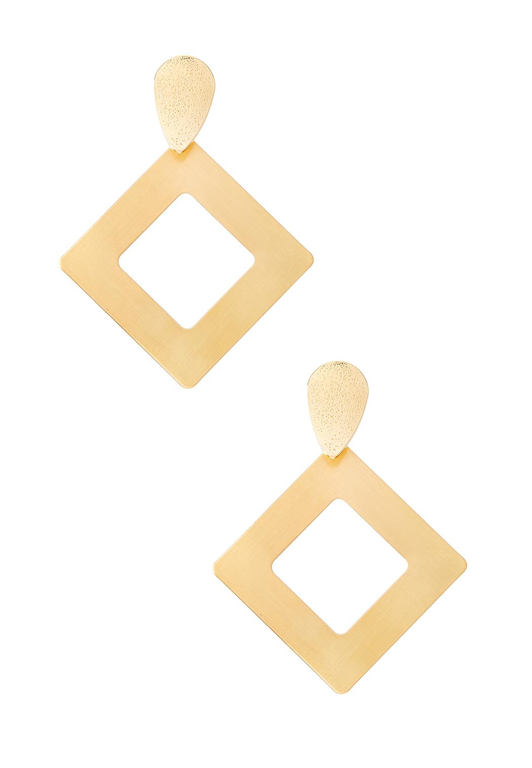 Brushed Gold Diamond Shaped Earrings