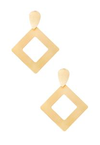 Brushed Gold Diamond Shaped Earrings