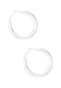 Chunky Silver Hoop Earrings