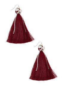 Rhinestone Chain Tassel Earrings