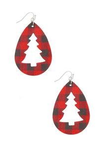 Holiday Plaid Faux Leather Earrings
