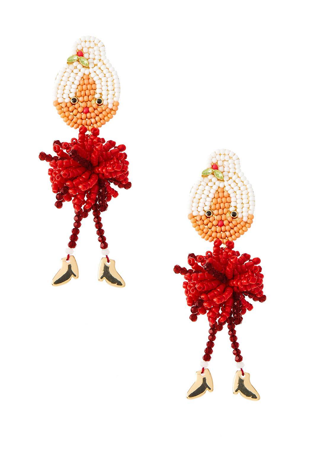 Mrs. Clause Seed Bead Earrings