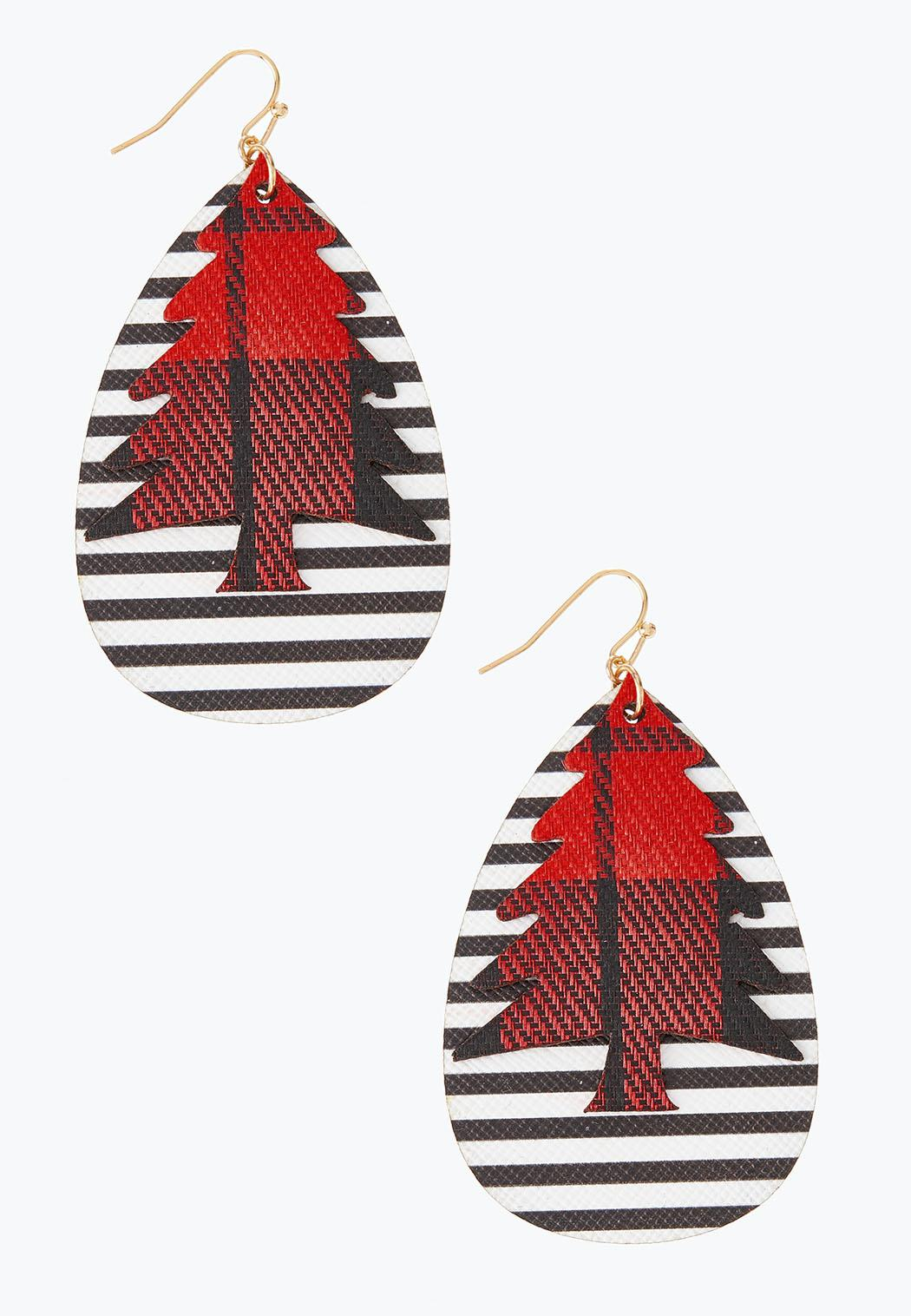 Stripe Plaid Faux Leather Holiday Earrings