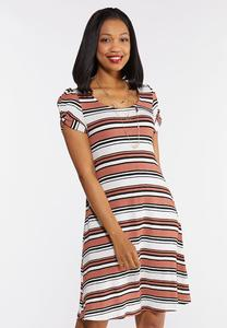 Plus Size Striped Swing Dress