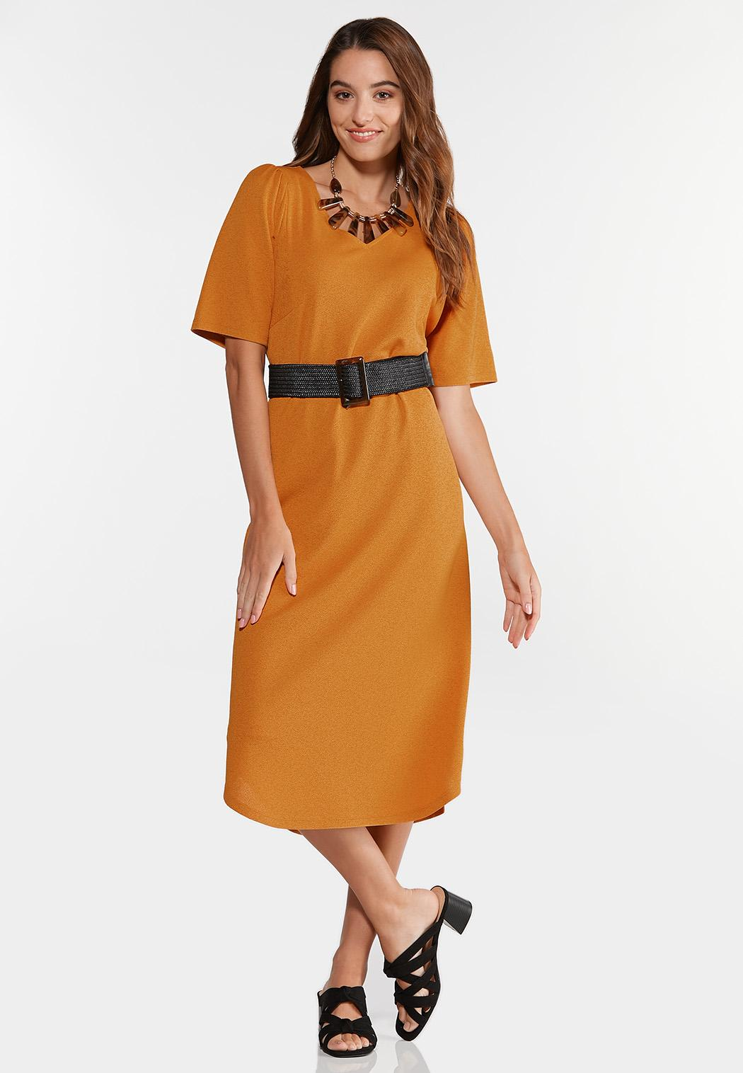 Plus Size Belted Puff Sleeve Dress