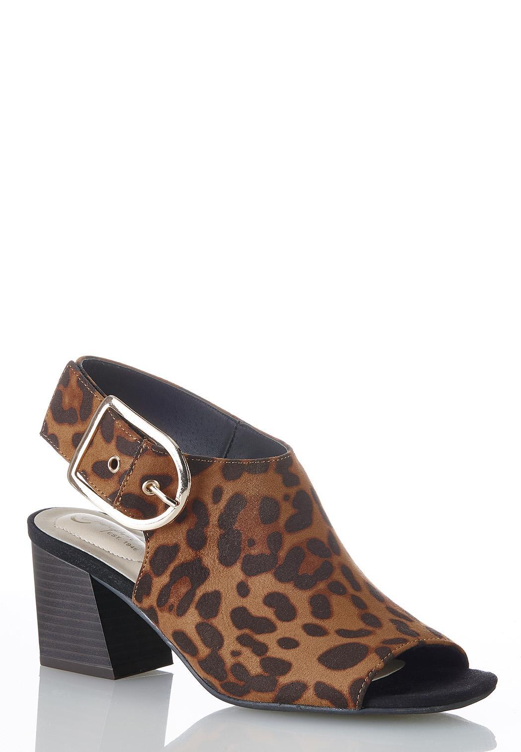 Wide Width Slingback Leopard Booties