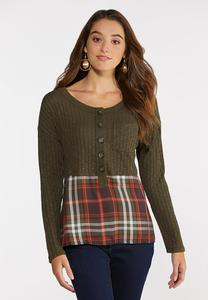 Plus Size Olive Plaid Top