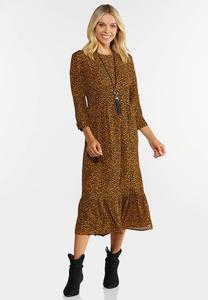 Tiered Spotted Midi Dress