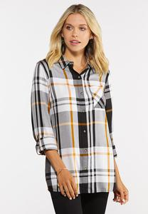 Plus Size Golden Check Tunic