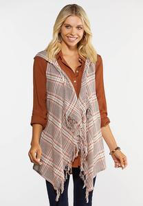 Plus Size Plaid Hooded Vest