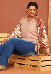 Plus Size Sheer Paisley Sleeve Top