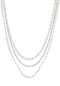 Layered Silver Chain Pearl Necklace