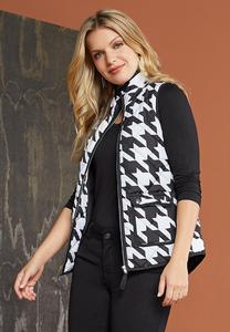 Plus Size Houndstooth Puffer Vest