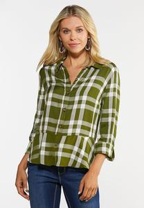 Plus Size Plaid Peplum Shirt