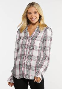 Plus Size Silvery Shimmer Plaid Shirt