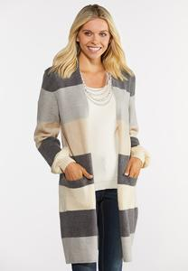 Stripe Balloon Sleeve Cardigan Sweater