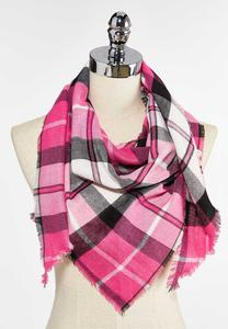 Plaid Triangle Scarf