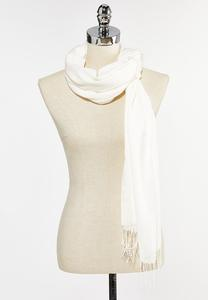 Solid Fringe Trim Oblong Scarf