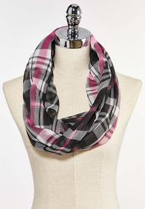 Pink Plaid Infinity Scarf