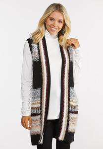 Plus Size Fuzzy Stripe Cardigan Sweater