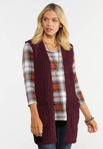 Plus Size Teddy Duster Sweater Vest