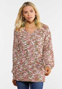 Rose Olive Marled Tunic Sweater