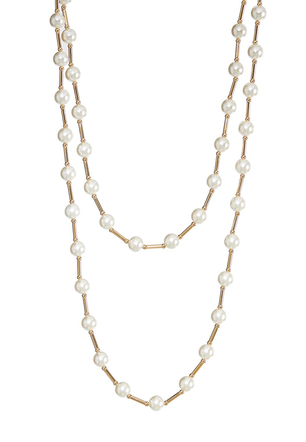 Layered Pearl Bar Necklace