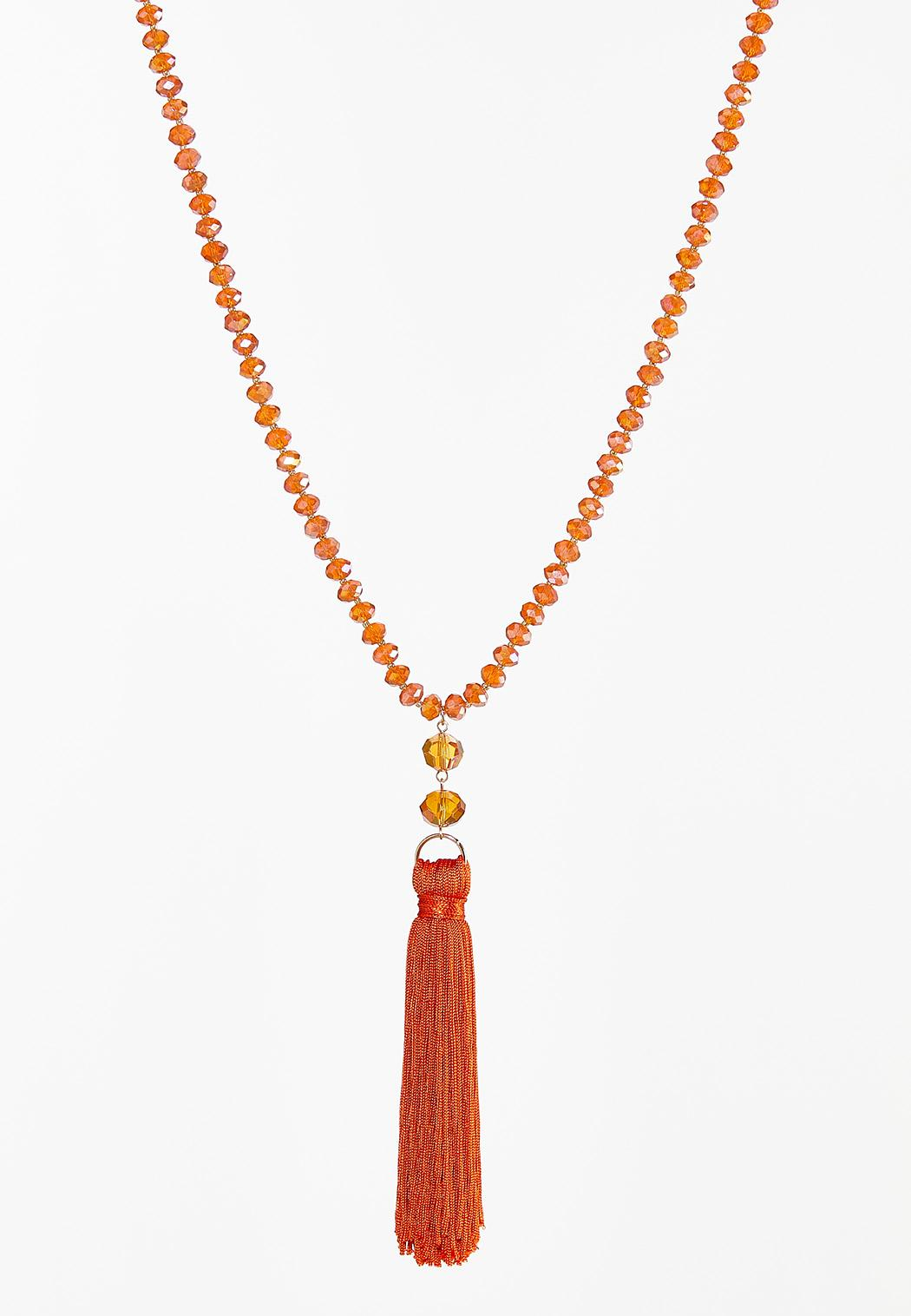 Crystal Bead Tassel Necklace