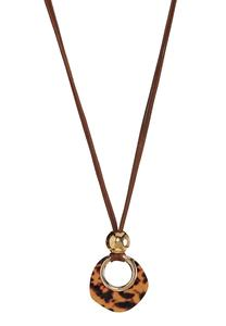 Tortoise Lucite Cord Necklace