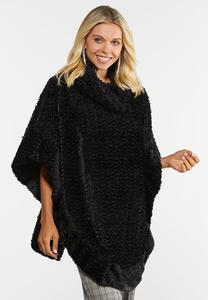 Faux Fur Cowl Neck Poncho