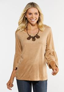 Plus Size Faux Suede Flounced Sleeve Top